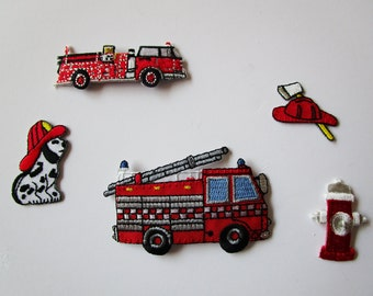 Set of (5) FIREMEN Iron On Embroidered Appliques~ Fire Truck Hat Dalmatian Hydrant