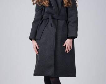 Dark gray coat / Woman's neoprene long coat / Oversized neoprene coat / Long gray woman's coat / Fasada 1716