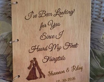 Rustic Personalized Wood Burned Fairytale Wedding Guest Book or Photo Album, Marriage Advise Book