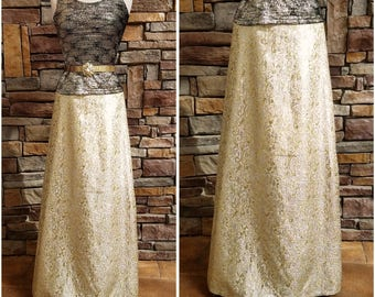 Long metallic gold and silver swirly formal skirt - Large