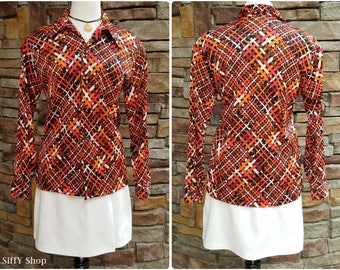 Orange, black and brown basket weave polyester button down blouse - large