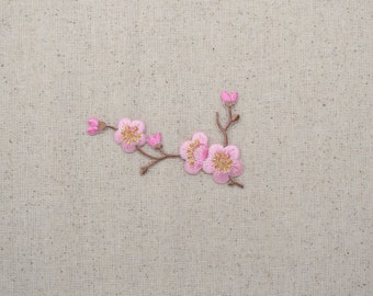 Cherry Blossom - Pink Flowers - Brown Stem - LEFT or RIGHT - Iron on Applique - Embroidered Patch - 611517