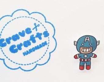 Superhero inspired pin/brooch/tie tack : Captain America lookalike