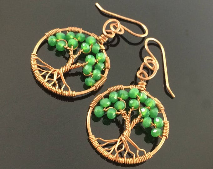 Emerald Tree Of Life Copper Wire Wrapped Earrings May Birthstone Taurus Amulet Heart Chakra Love Stone Custom Family Tree Wedding Gift 4 Her