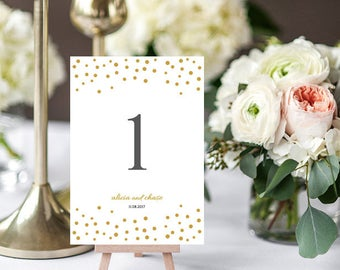 Gold confetti wedding table number template printable, Orlando | 5x7 table number templates, Editable printable template
