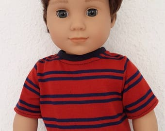 """Red and Blue  Striped Top / T-shirt for 18"""" Boy Doll -  Boy doll classic  tee -  boy doll clothes- Stripe tshirt- 18 inch boy doll  clothes"""