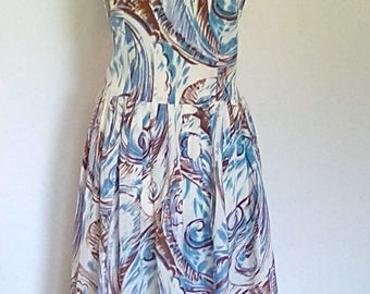Vintage 50s dress blue taupe floral print size small