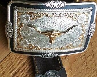 Western Silver Diagonal Scroll Belt Tip - 1 & 1/2 Inches