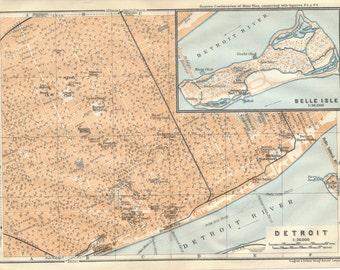 1909 Detroit Michigan Antique Map