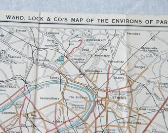 1935 Paris France Antique Map