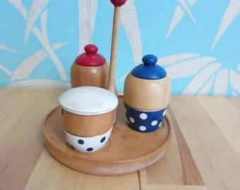 Vintage Japanware wooden handpainted polka dot cruet set
