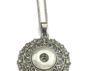 Interchangeable Snap Necklace, Snap Jewelry- Snap Button Necklace- Fits all 18mm Standard Snap Charms & Buttons, Choose Your Chain Length