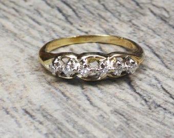 Vintage Diamond Ring 14k Gold Diamond Right Hand Ring Yellow Gold Ring Diamond Wedding Band Diamond Wedding Ring Size 5.5