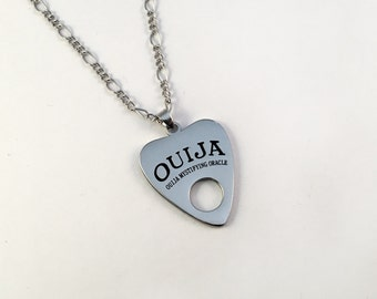 Gothic Ouija Pendant On Silver Chain, Ouija Board Planchette, Ouija Necklace, Gothic Necklace, Horror Jewellery, Gothic Jewelry, Gothic Gift