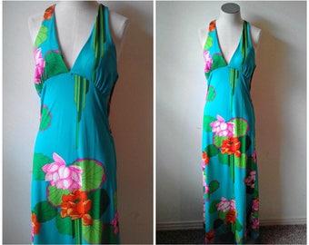 Vintage 1970s Toni Todd Women's Size 10 Bright Tropical Floral Print Halter Cross Back Maxi Dress Resort Wear Boho Hippy Style Empire Waist