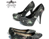 HP Always A Slytherin- Flats- Heels- Choose Your Shoe Style- Wedding- Geek -Bride- Prom- Gift- Booknerd-Book-Potterhead-christmas