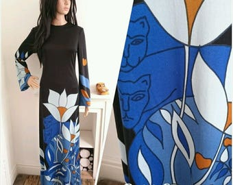 Vintage 60s 70s Blue Louis Feraud Psychedelic Floral Maxi Dress Mod Boho / UK 12 / EU 40 / US 8