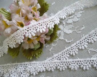 White Venise Lace Trim Narrow Width for Gowns, Costumes, Home Decor, Crafts
