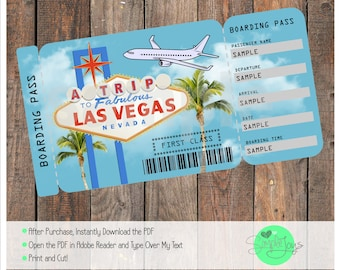 Printable Ticket To Las Vegas Boarding Pass, Customizable Template, Digital  File   You Fill  Printable Ticket Paper