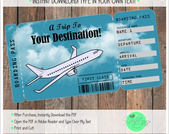 Printable Vacation Surprise Ticket Boarding Pass - Customizable Template, Digital PDF File - You Fill and Print