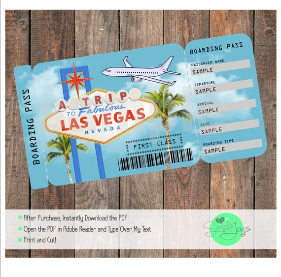 printable ticket to las vegas boarding pass customizable. Black Bedroom Furniture Sets. Home Design Ideas