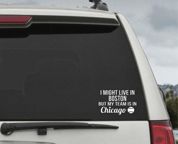 Personalized Might Live in your City But my team is in City  Baseball sports decal - Custom Window Decal Sticker