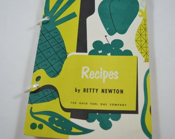 Vintage Cookbook Recipes By Betty Newton The Ohio Fuel Gas Company 1954-1957 Recipes Ring Binder Cookbook
