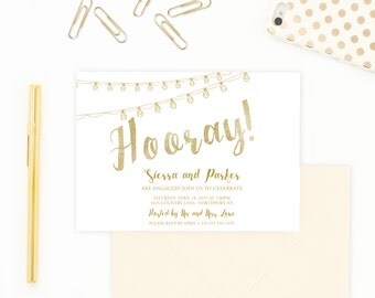 Engagement Party Invitation, Gold Engagement Party Invitation, Celebrate Engagement Invitation, String Lights Engagement Party Invite [247]