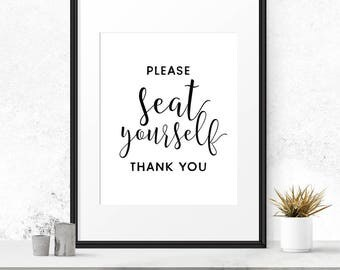 Please seat yourself sign, Bathroom wall decor, Instant download, Printable print, Bathroom signs, Washroom sign, Modern Bathroom, 8x10 art