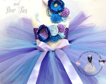 Mermaid First Birthday  Outfit. Photo Prop Tutu .  First Birthday Tutu Set . Blue and Purple Tutu Set . Mermaid themed party