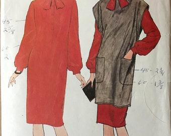 Butterick 6186 - 1980s Fast and Easy Bow Tie Neck Dress with Jumper Tunic Option - Size 12 14 16