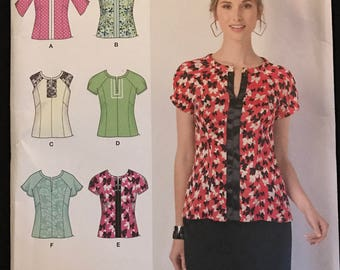 Simplicity 1462 - Princess Seamed Tops with Slit Front and Contrast Fabric Option - Size 6 8 10 12 14 or 14 16 18 20 22