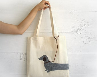 VALENTINE'S Day GIFT, EXPRESS Shipping, Tote Bag, Dachshund, Doxie, Wiener, Cotton Canvas Tote, Birthday Gift, Shopping Bag, Gift For Her