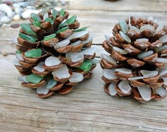 Sea Glass Pine Cones, Pine Cone Decor, Sea Glass Decor, Pinecones, Rustic Home Decor, Greek Sea Glass