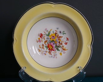 Vintage china fruit bowls - set of four yellow and floral bowls - Johnson bros