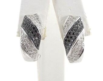 18K White Gold Black And White Diamond Huggie Omega Back Clip On Earrings 1.00 carat