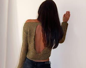 Drop Stitch Wave Sweater, Open Back Sweater, Silk Wiscoze & Alpaca Sweater, Old Golden Sweater, Open waves Sweater, Handknitted Sweater