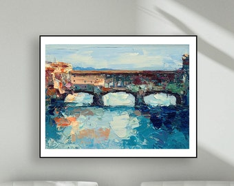 Bridge Art Prints Ponte Vecchio Florence Italy Prints Wall Art Canvas Bridge Prints Bridge Wall Art City Art City Wall Art River Art Prints