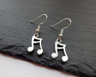 Music Note Earrings, Music Earrings, Music Jewellery, Charm Earrings, Musical Gift, Music Gift, Music Note
