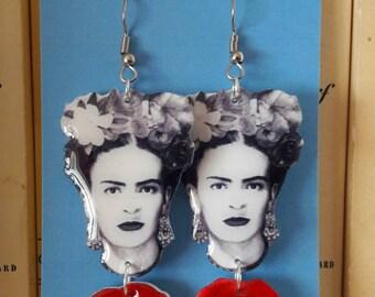 Frida Kahlo Earrings - Illustration Jewelry -  Black and White - Acrylic Plastic