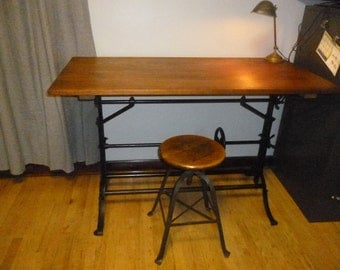Vintage Industrial Drafting Table with All Cast Iron Base