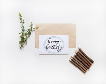 happy birthday card | hand lettered card | laurel wreath | birthday card | watercolor greenery card | celebratory card | rustic note card