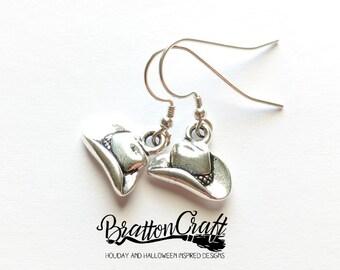 Silver Cowboy Hat Earrings - Western Hat Earrings - Cowgirl Hat Earrings - Fun Cowboy Hat Earrings - Cowboy Jewelry