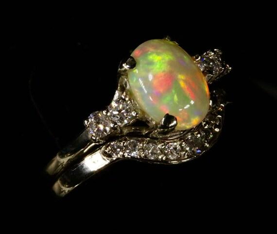 Opal & Diamond Ring Set Engagement Ring Wedding set Top Gem