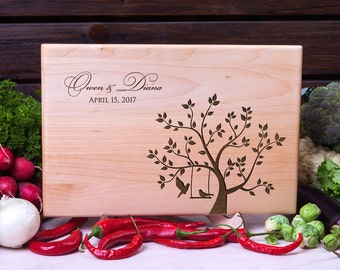 Personalized Cutting Board Wedding gift Love Birds Anniversary Housewarming Engagement Gift for Couple Custom Engraved Wood cutting board