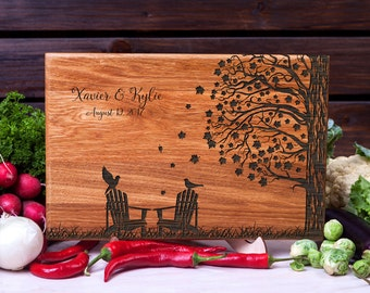 Personalized Cutting Board Adirondack Chairs Wedding gift Retirement gift Anniversary Gift Bridal Shower Gift for Couple Wood cutting board
