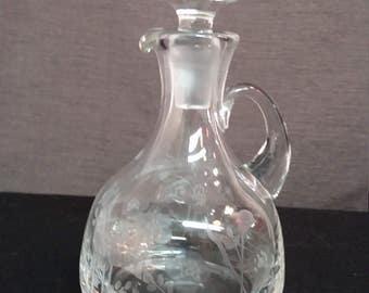 Liquor Decantor, Krosno Poland Floral Etched Glass, Vintage