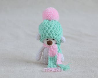 Crochet amigurumi teddy bear in the scarf and mint hat - small teddy bear, personalized bear gift, teddy bear gift for her READY TO SHIP