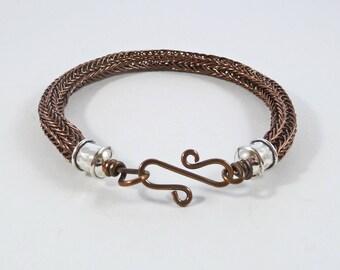 Man's Viking Bracelet, Rustic Bracelet, Husband Gift, Viking Gift, Copper, Brown, Wire Cuff, Torque, SMALL, Viking Knit, Woven Bracelet