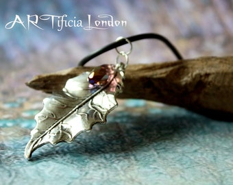 Oak Leaf Necklace with Iridescent Amethyst Austrian Crystal   February Birthstone